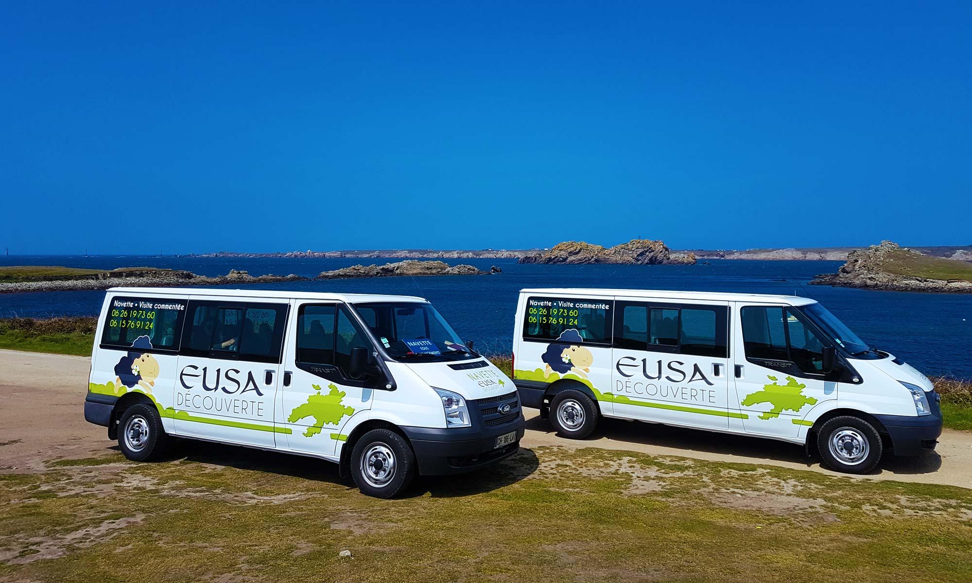 Nos véhicules - minibus de 8 passagers - porz goret - ile d'Ouessant - Eusa decouverte - visite commentée - circuit touristique - navette - déplacement